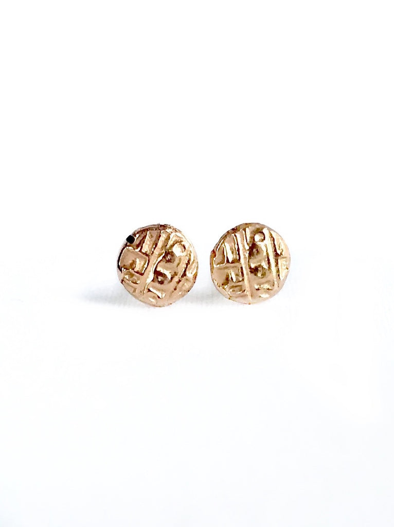Rose Gold Ancient Coin Studs