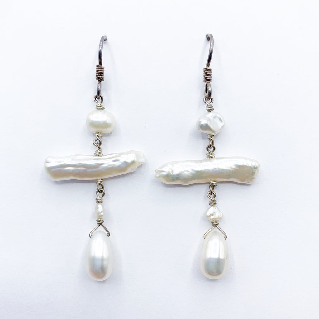 Sterling Sliver and Pearl  Drop Earrings