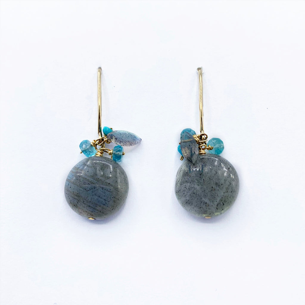 Gold Filled Labradorite Discs with Turquoise Drop Earrings