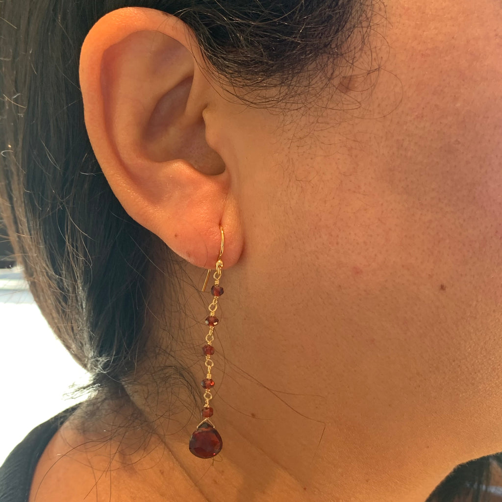 Garnet Drop Earrings Gold Filled with Beaded Chain