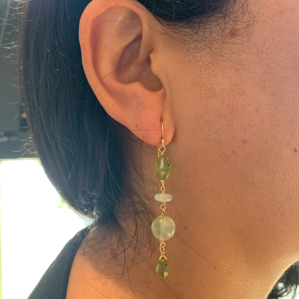 Gold Filled Peridot and Chalcadony Drop Earrings