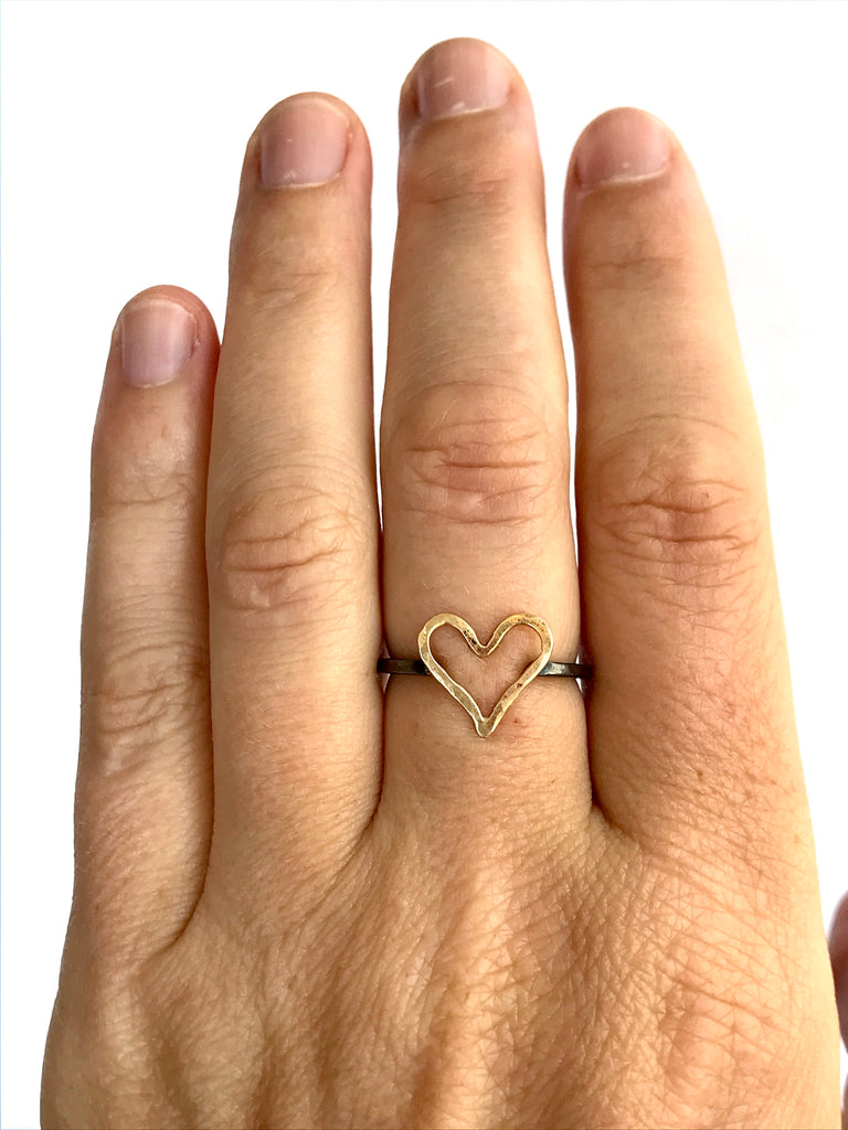 Heart Ring in Gold and Oxidized Silver