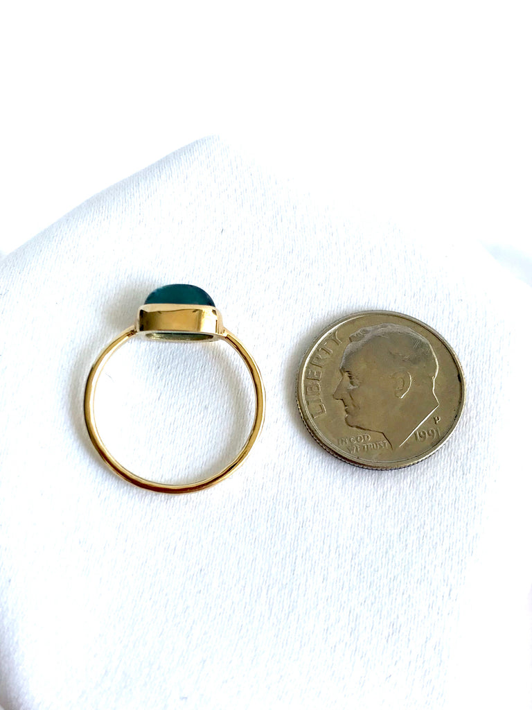 Teal Touramline Ring in 14K Yellow Gold