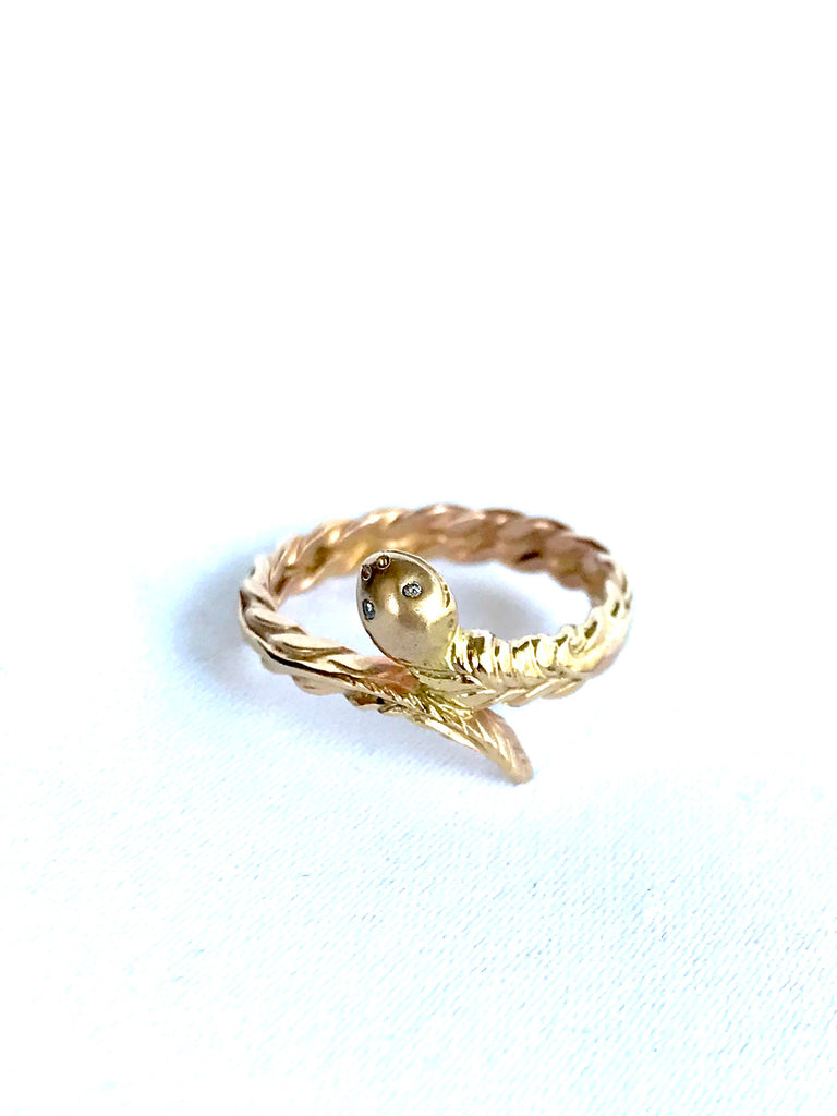 14K Gold Snake Ring With Diamond Eyes