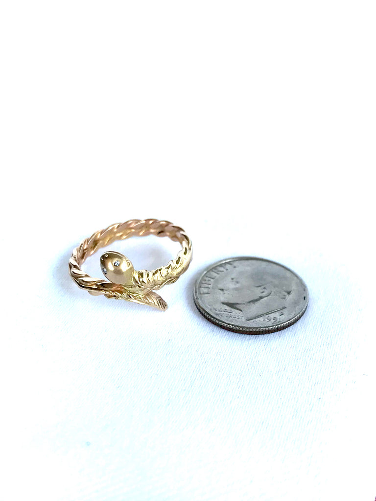 14 Karat Gold Snake Ring With Diamond Eyes