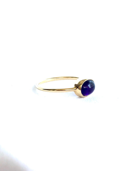 Amethyst Cabochon Stacking Ring