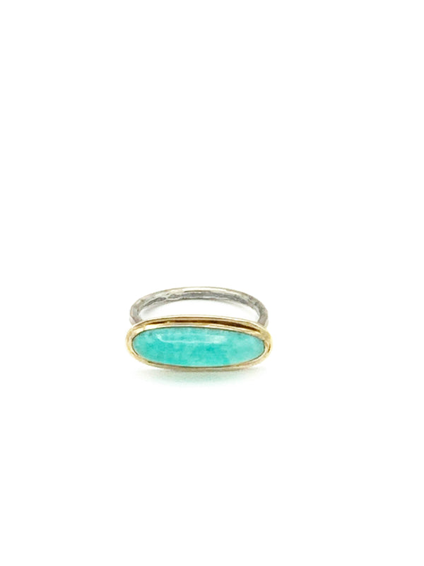 Elongated  Amazonite Ring in 14k Gold and Hammered Silver