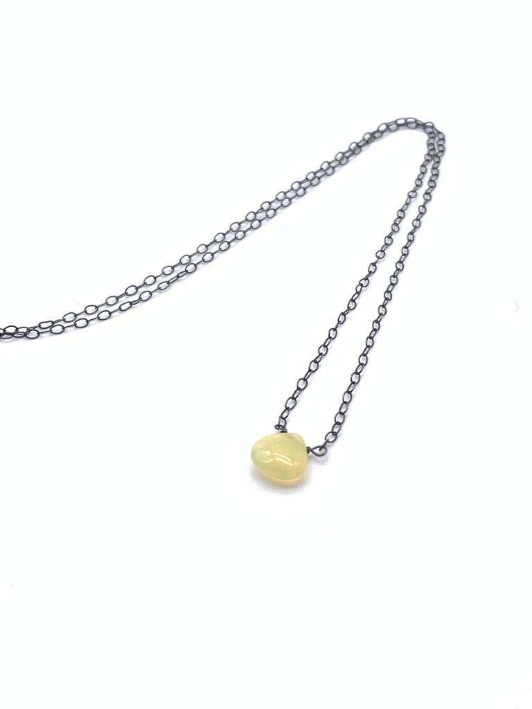 Petite Opal Pendant on Sterling Silver or Oxidized Sterling Silver Chain
