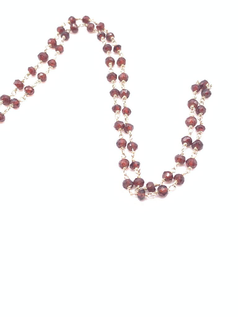 Beaded Garnet Necklace on Yellow Gold Filled or Sterling Silver Chain