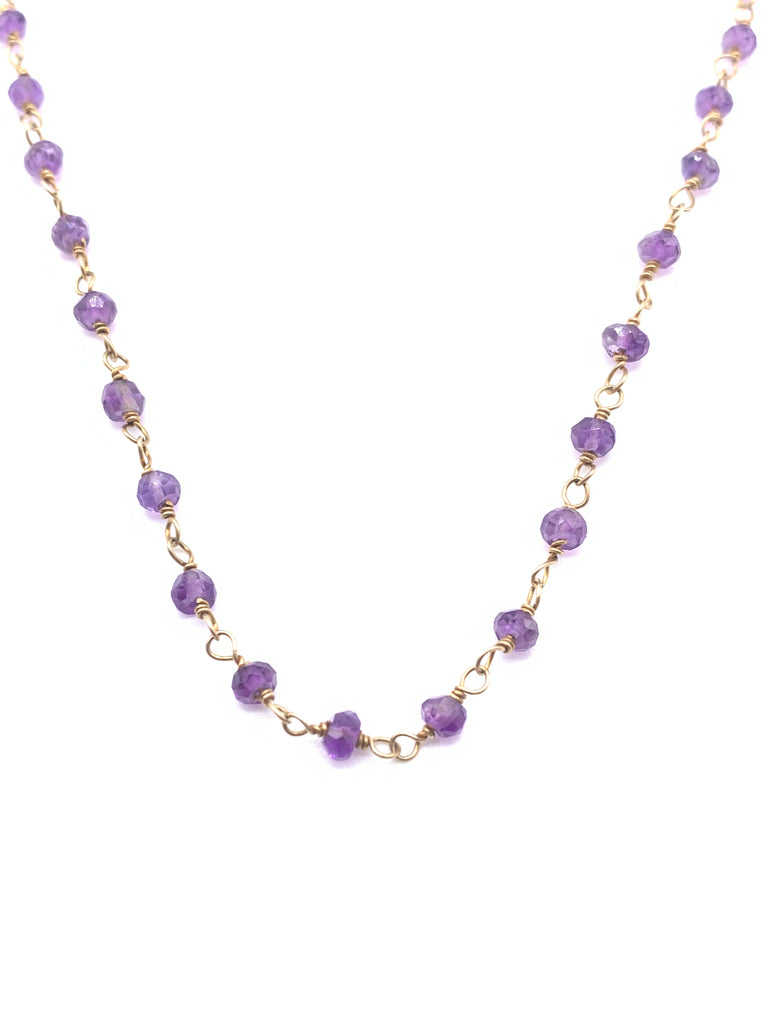 Beaded Amethyst Necklace on Yellow Gold Filled Chain
