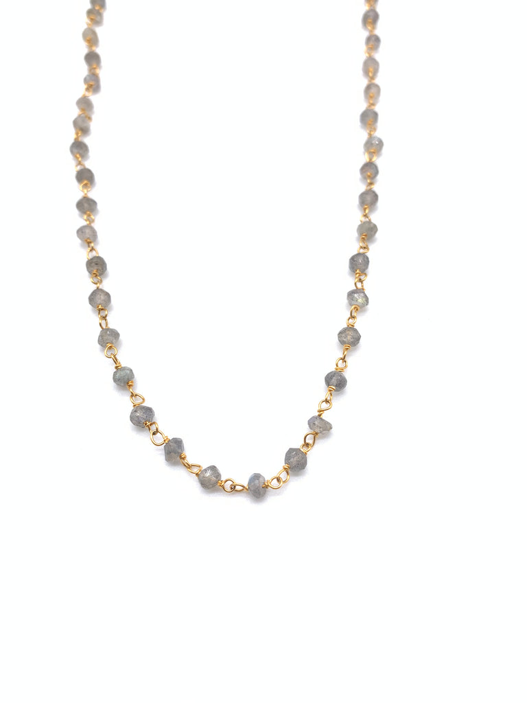 Beaded Labradorite Necklace on Yellow Gold Filled Chain