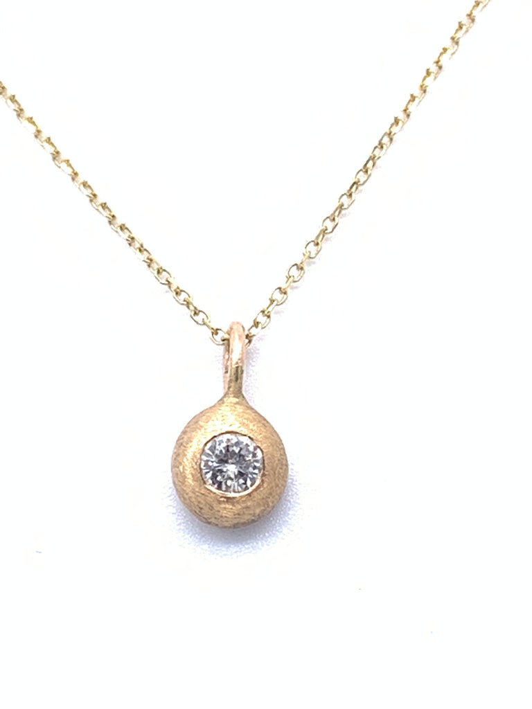 14 Karat Yellow Gold Satin Diamond Drop Pendant