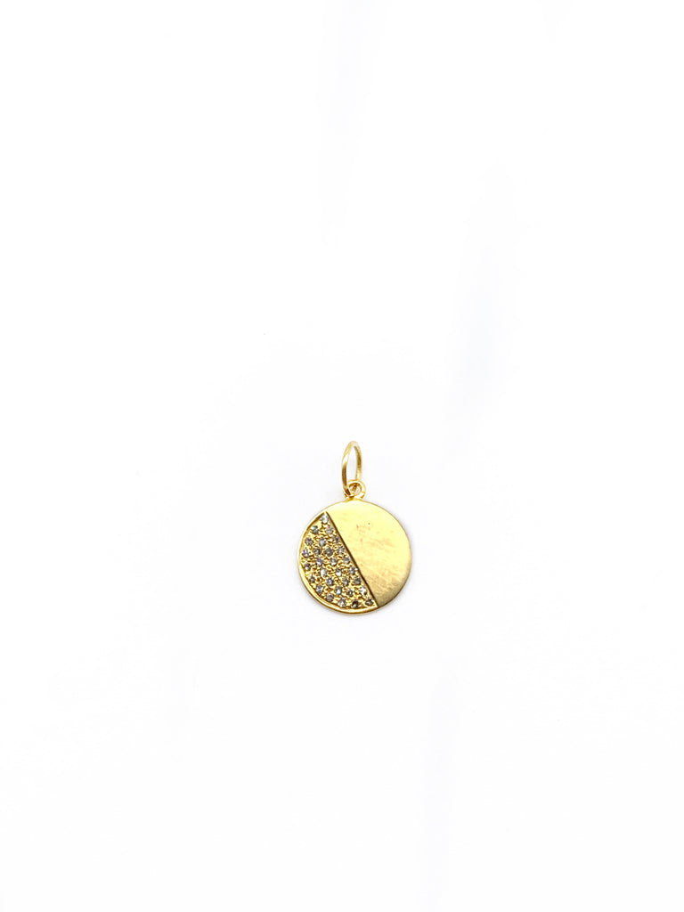 14K Yellow Gold Half Diamond Pavê Disc