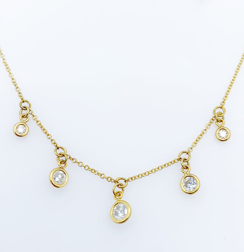 14 Karat Yellow Gold Drop Necklace With Five Round Brilliant Diamonds