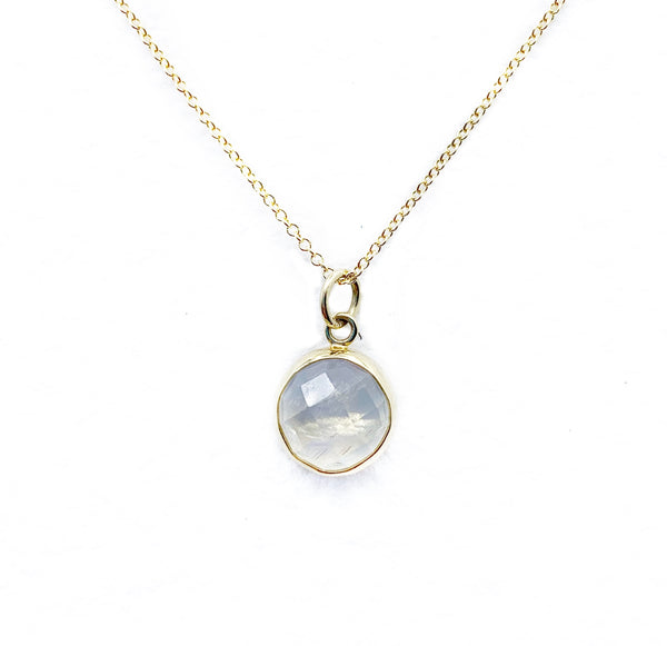 Round Moonstone Drop Pendant