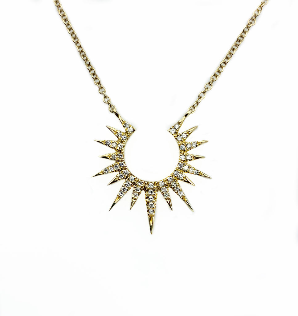 Starburst Diamond Pendent and 14K Gold necklace