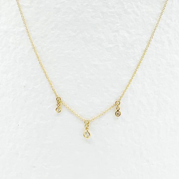 14 Karat Gold Triple Diamond Necklace