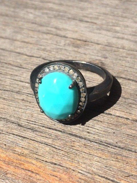 Turquoise and Diamond Oxidized Sterling Silver Ring