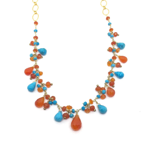 Carnelian and Turquoise Drop Necklace