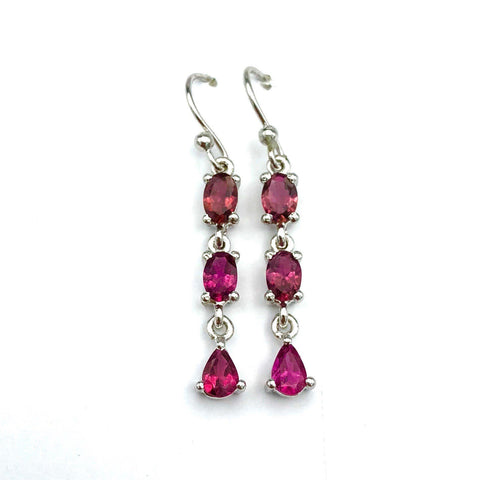 Sterling Silver Pink Tourmaline Earrings