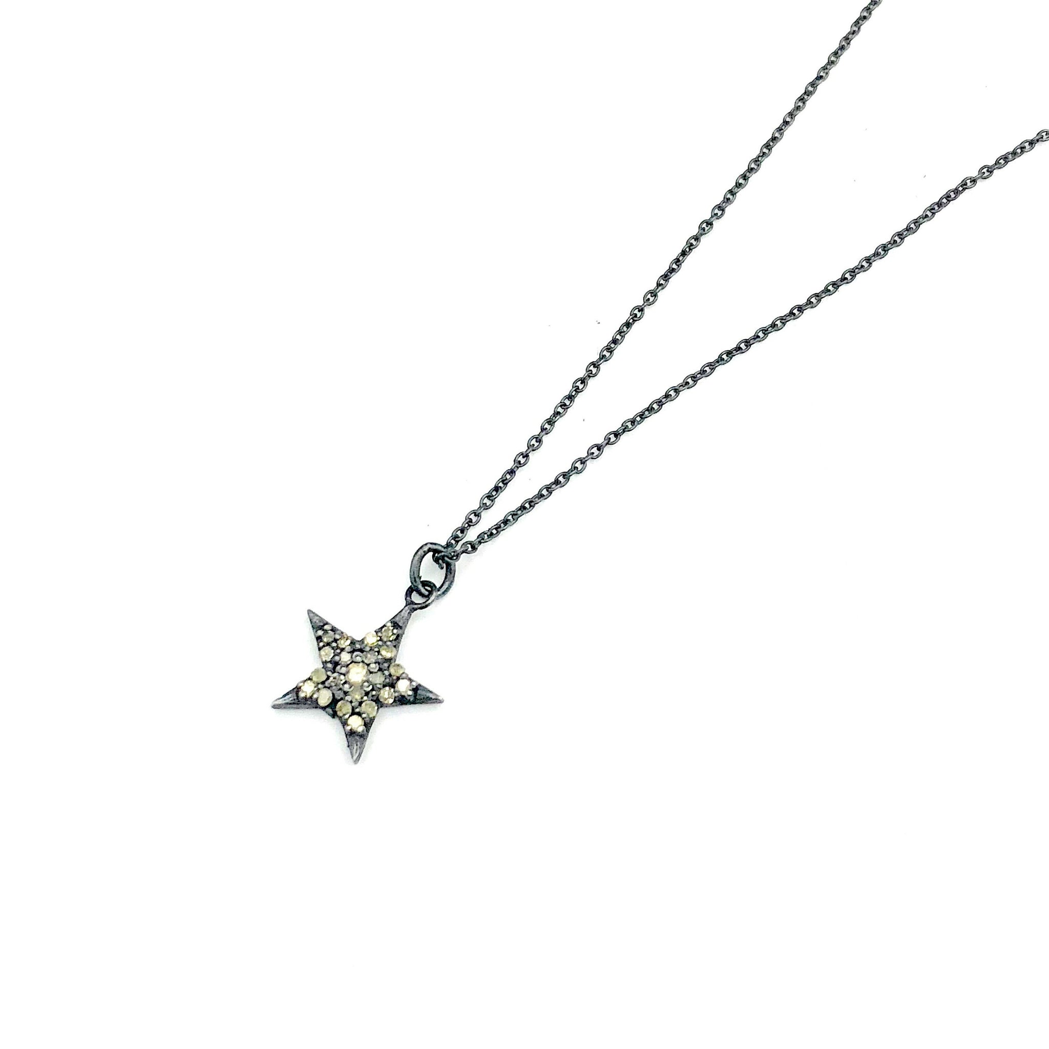 Silver Star Diamond Pendant Necklace