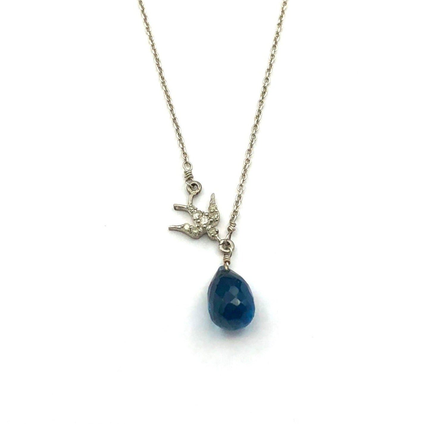 Sterling Silver Necklace With Blue Topaz Briolette and Diamond Bird