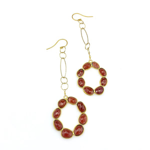 Gold Plated Garnet Earrings