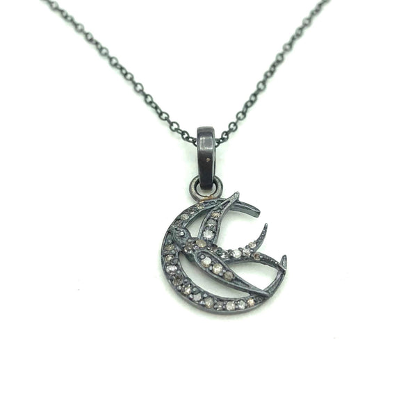 bird and moon silver and diamond pendent
