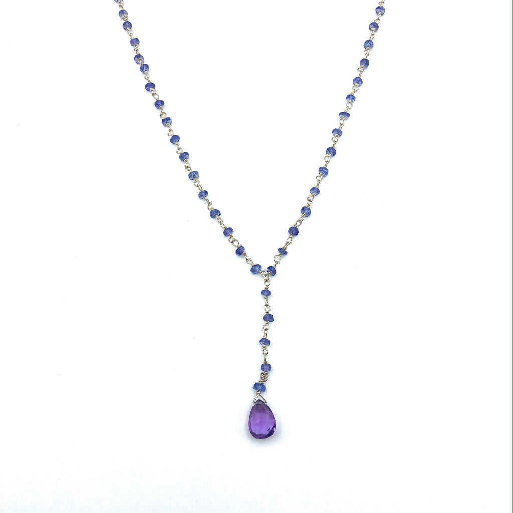 Sterling Silver Beaded Tanzanite and Amethyst Necklace