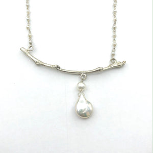 Silver Branch with Beaded Pearls on Chain Necklace
