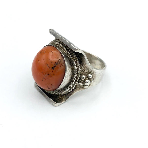 Vintage Silver and Coral Statment Ring