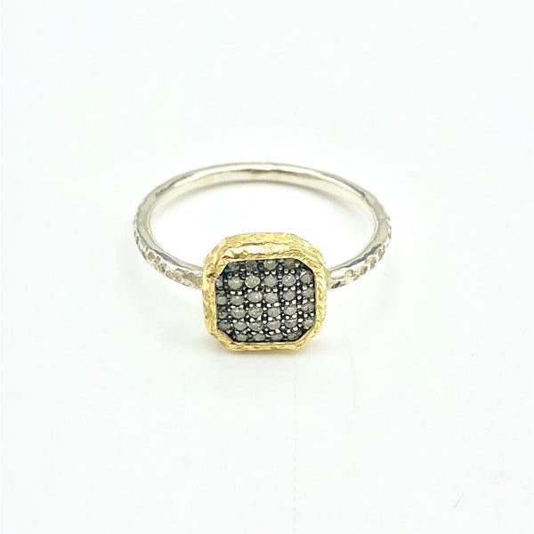 Sterling Silver and Gold with Diamonds Ring