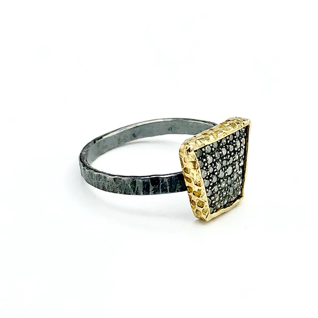 Oxidized Sterling Silver w/ Gold Diamond Ring
