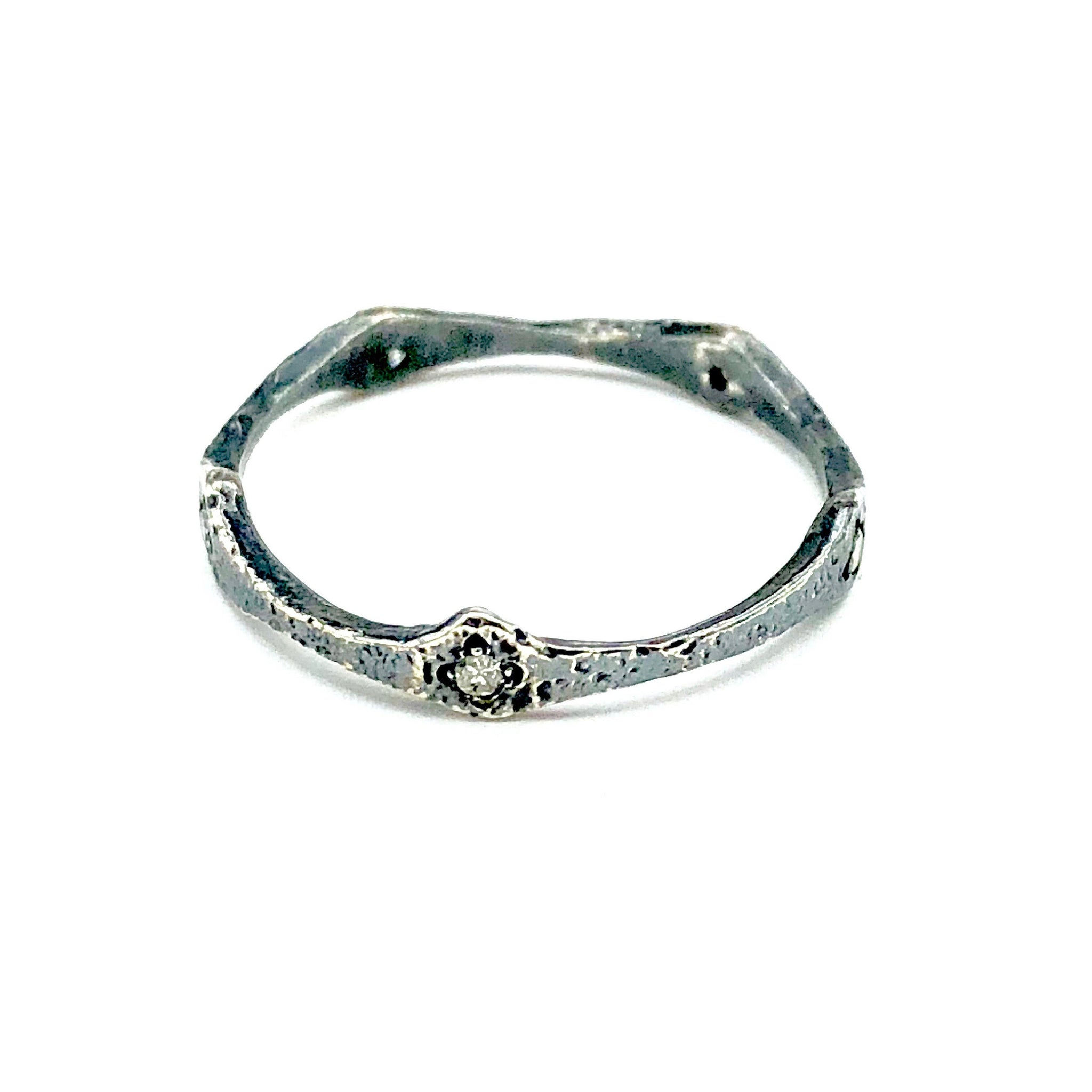 Sterling Silver and Diamond Ring.