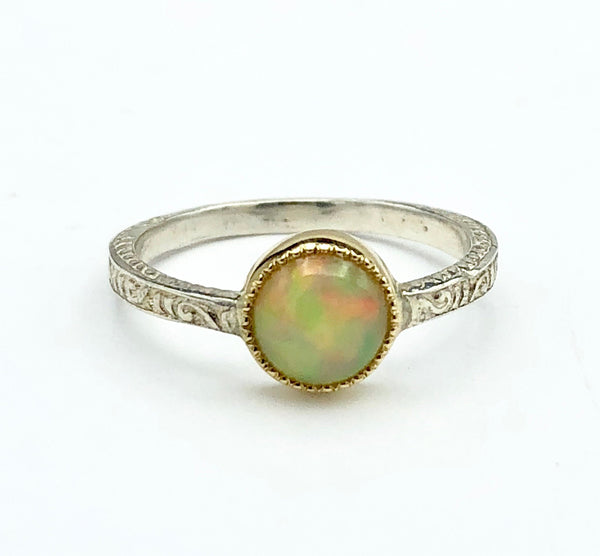 Sterling Silver and Gold with Opal Ring