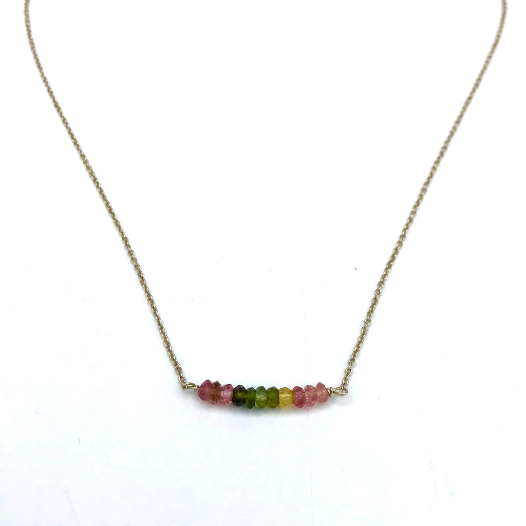 Sterling Silver Necklace With Tourmeline Beads