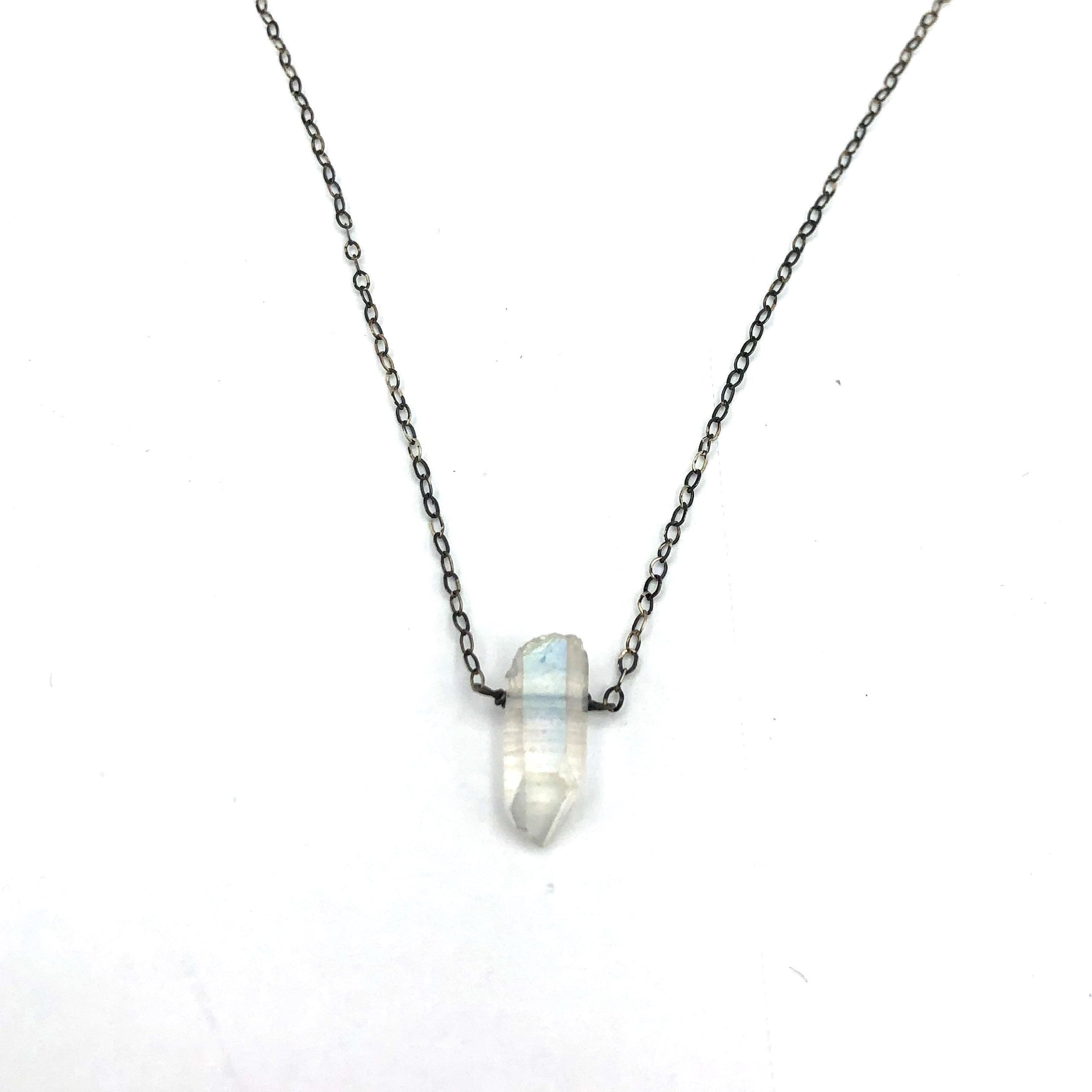 Sterling Silver Necklance with a Natural Quartz Crystal Drop Pendant