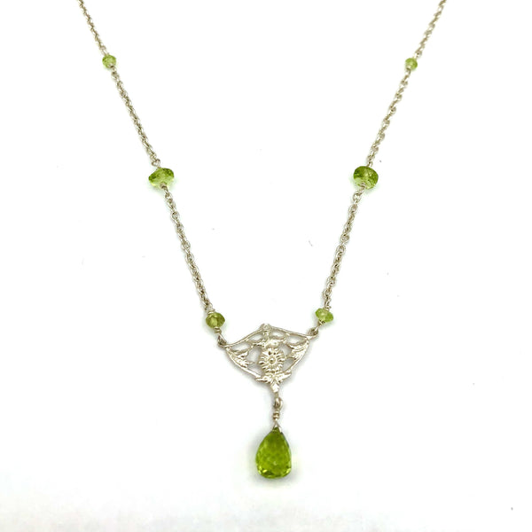 Sterling Silver with Peridot Drop Necklace
