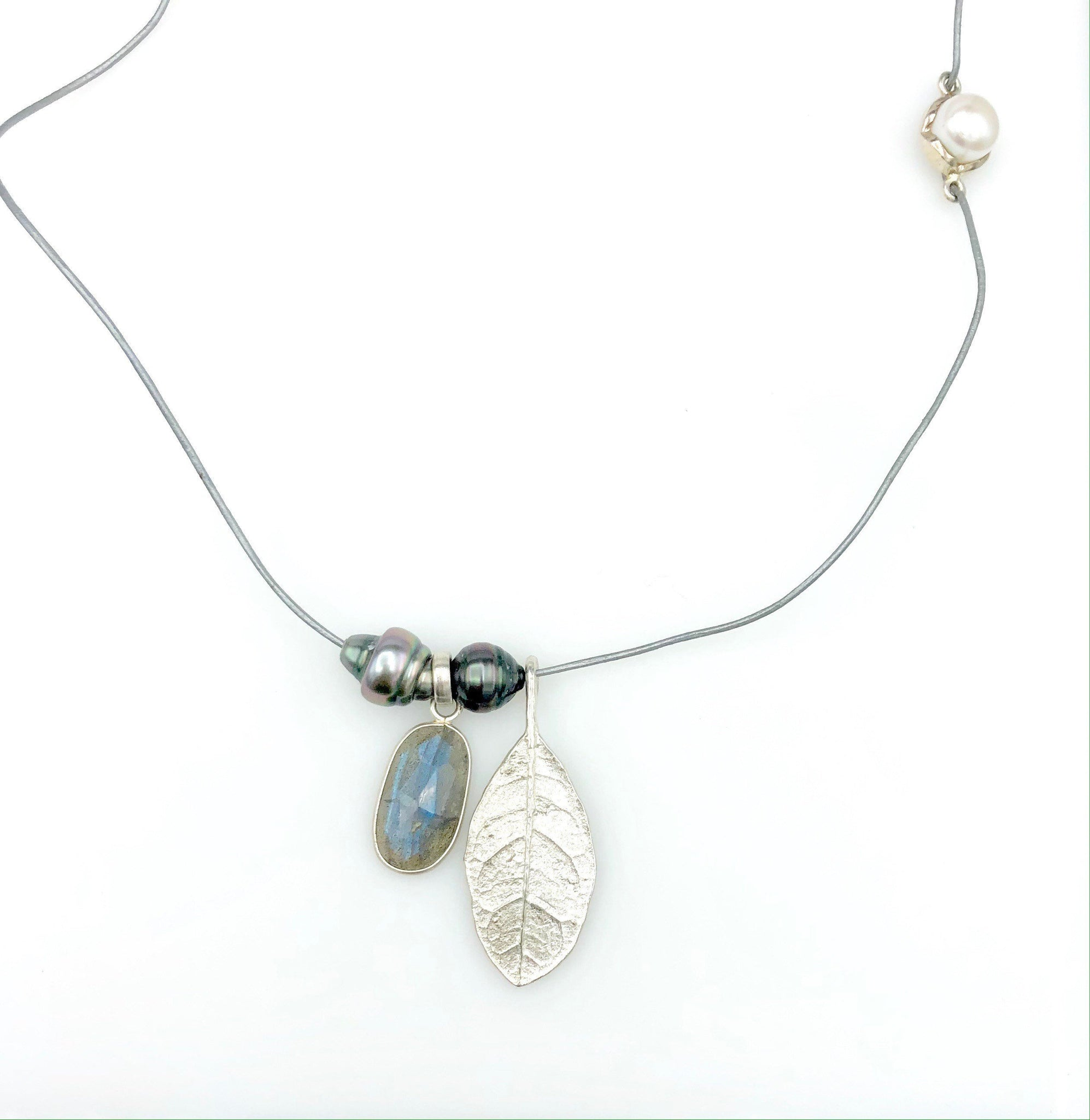 Silver Cord with Pearls, Labradorite & Sterling Silver