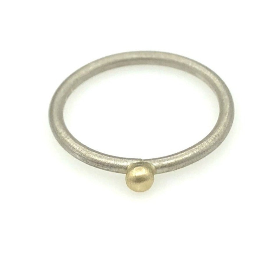 14k Gold ball on Sterling Silver Ring