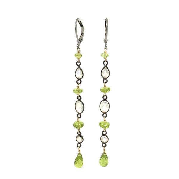 Peridot and Moonstone Drop Earrings