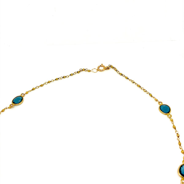 Sterling Silver Gold Plated Beaded Chain wirh Blue Topaz Necklace