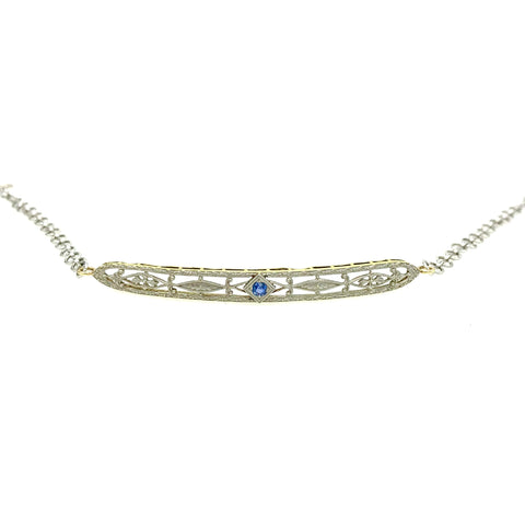 Sapphire Filigree White Gold Antique Bracelet