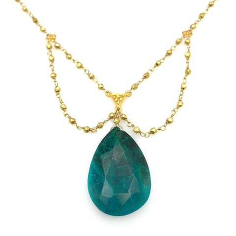 Chrysocolla Gold Plated Necklace
