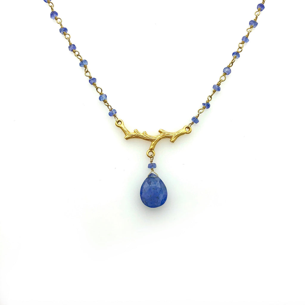 Tanzanite Beaded Gold Plated Necklace with Tanzanite Briolette