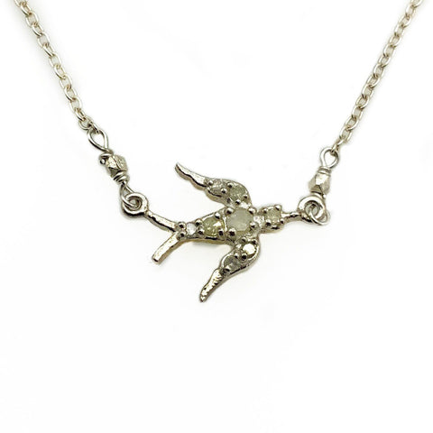 Diamond Encrusted Sterling Silver Bird Pendant Necklace