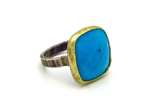 Natural Turquoise Cocktail Ring 14k Gold Bezel Sterling Silver Band