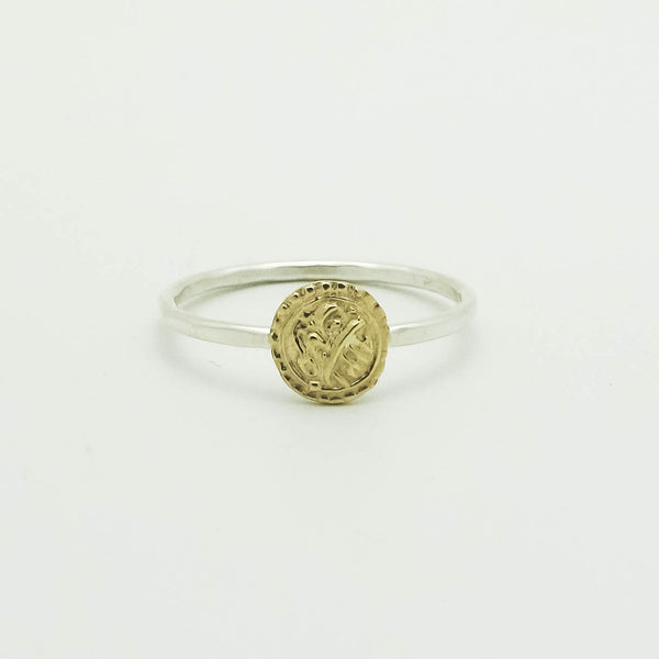 Antique Wedding Coin Stackable Rings 14k Rose/Yellow Gold