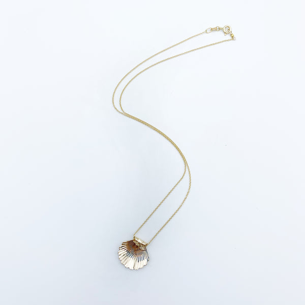 14k Yellow Gold Shell Charm on Chain