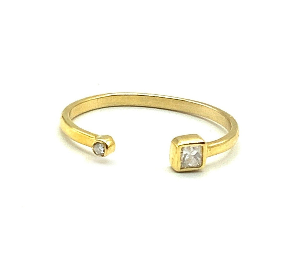 14 Karat Yellow Gold Open Ring With One Princess Cut Diamond And One Small Round Diamond